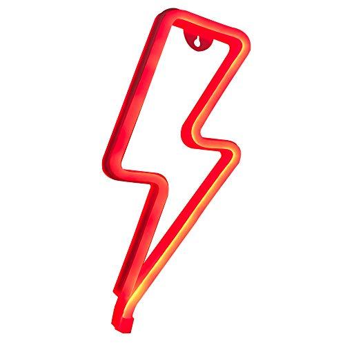 Fefelightup Lightning Neon Signs Light Night Lights Art Decorative Lights for Romantic Atmosphere (Lightning Red)