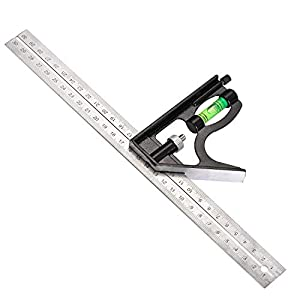 Siumir Combination Square with Bubble Level, Adjustable Right Angle Ruler 300 mm / 12 inch