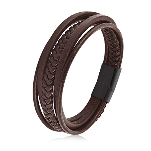 OBSEDE Men Bracelet Personalized PU Leather Original Tribe Wrist Bracelet Rope Cords Strands Bangle Brown 20.5