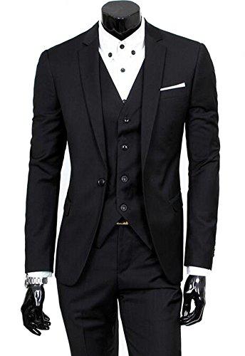 Benibos Men's Slim Fit Suit Blazer Jacket Tux Vest Pants 3 Pieces Suit Set (M, Black) (Black On Black Suit)