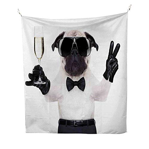 - Pugoutdoor tapestryPug with Champagne Glass and Peace Sign Cool Looking Dog Celebration Animal 70W x 84L inch Ceiling tapestryBlack White Cream