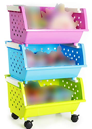 MAGDESIGNER Kids Toys Storage Organizer with Wheels Can Move Everywhere Large Basket Natural/Primary (Primary Collection) (Purple&Blue&Green)