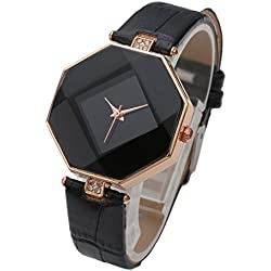 Top Plaza Women Fashion All Black PU Leather Wrist Watch Rhombus Rhinestone Rose Gold Case Non Scale Analog Quartz Watch