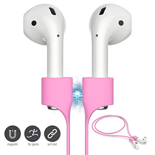 : FONY Airpods Magnetic Strap Anti-Lost Airpods Cord Sport String Silicone Leash Cable Connector - Airpods Accessories for Airpods Pro/2/1 (Pink)