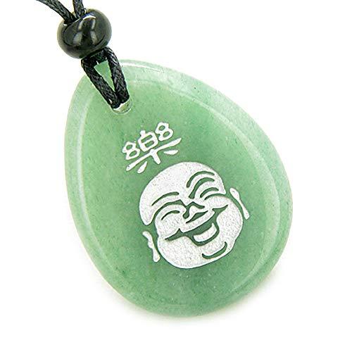 Good Luck Charm Happy Buddha Face Amulet Green Quartz Pendant Necklace ()