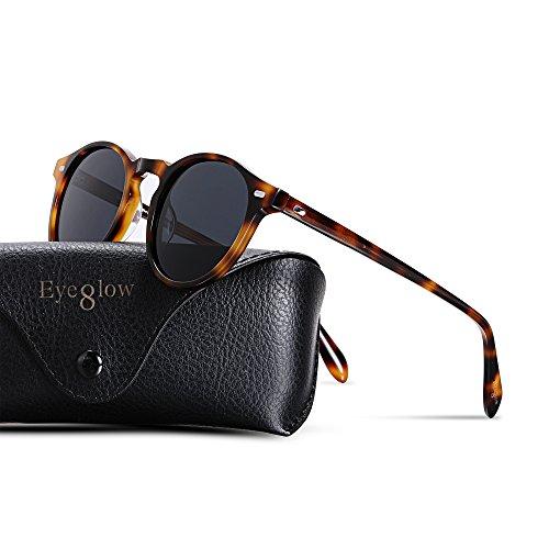 Tortoise Acetate - EyeGlow Vintage Round Sunglasses Women Sunglasses Men Polarized Lens 5187 Acetate material (Tortoise vs grey polarized lens, As pictures)