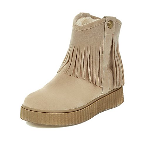Low Women's Heels Allhqfashion On Pull Top Imitated Solid Beige Suede Boots Low qtww4aFnd