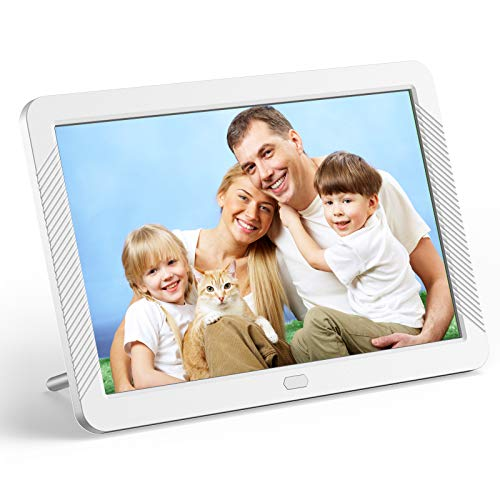 Digital Picture Frame 8 Inch Digital Photo Frame HD 1920X1080P with Remote Control 16:9 IPS Display Auto Slideshow Zoom Image Stereo Video Music Player Support USB SD Card 180° View Angle (White)
