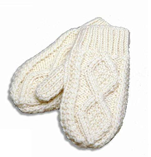 Carraig Donn Wool Knit Adult Mittens (Large, Natural)
