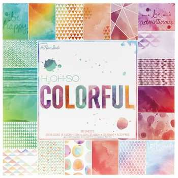 H2Oh-So Colorful 12x12 Scrapbooking Paper Pad Watercolors, Geometrics, Scallops