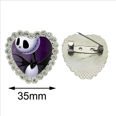 2017 New The Nightmare Before Christmas Crystal Brooch Jewelry Jack SkellingtonAnd Sally Pin Handmade Halloween Heart Brooch Glass Pin -