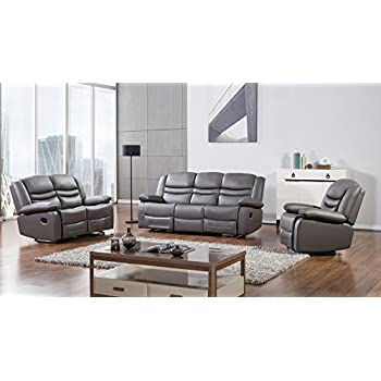 American Eagle Furniture 3 Piece Bayfront Collection Complete Faux Leather Reclining Living Room Sofa Set, Dark Gray