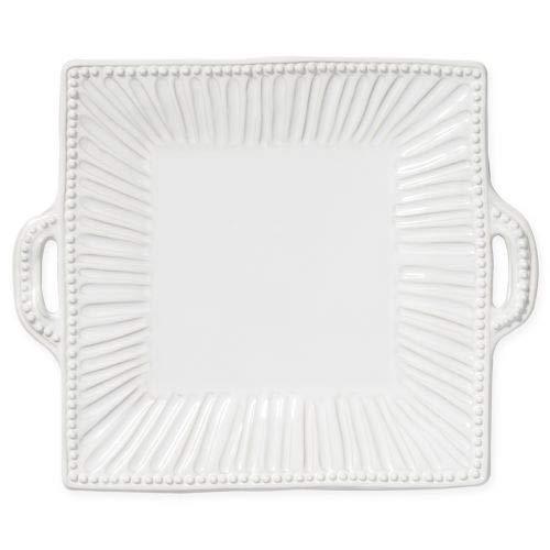(Vietri Incanto Stone White Stripe Square Handled Platter)