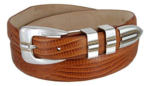 (Vincente Men's Genuine Italian Calfskin Leather Dress Belt (Lizard Tan, 38))