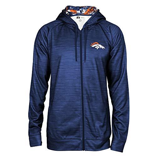NFL Denver Broncos Spacedye Full Zip Hoodie , Team Color, Medium
