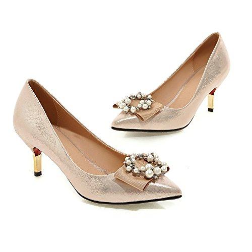 Minivog Femmes Arcs Perles Talons Hauts Pompe Chaussures Or