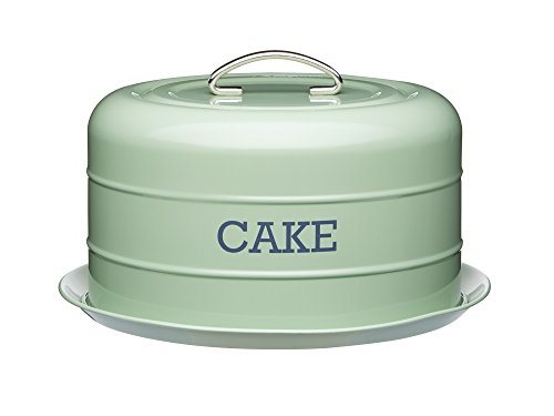 "Kitchen Craft Living Nostalgia Vintage Style Airtight Cake Storage Tin Cake Dome English Sage Green - 28.5cm x 18cm 11"" x 7"""