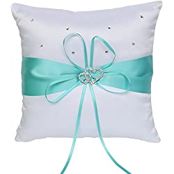 ARKSU Ring Bearer Pillow Cushion 7.8 x7.8 inch with Satin Ribbon 2 Heart Rhinestones for Rustic Bridal Wedding Shower Ceremony-Aqua Blue
