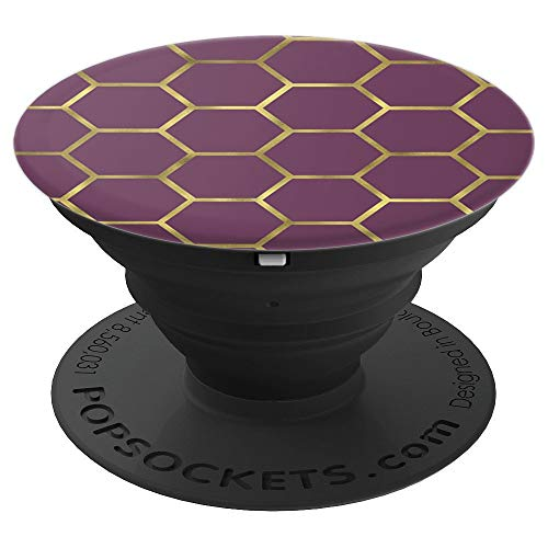 (Gold Geometric Pattern on Burgundy Soccer PACJ0403 - PopSockets Grip and Stand for Phones and Tablets)