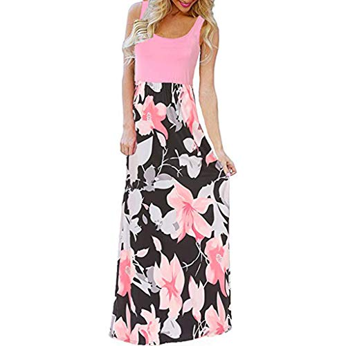Kiasebu Women's Striped Scoop Neck Floral Print Boho Tank Dress Party Evening Long Maxi Dresses with Pockets