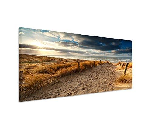 150x50cm Leinwandbild auf Keilrahmen Holland Nordsee Meer Strand Sonnenuntergang Wandbild auf Leinwand als Panorama