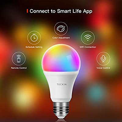 Smart LED Bulb E27 WiFi Dimmable and Multicolor Light Bulb Compatible with Alexa, Echo, Google Home and IFTTT (No Hub Required), TECKIN A19 60W Equivalent RGB Color Changing Bulb (7.5W), 4 Pack
