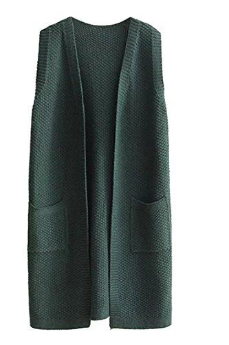 In Open Donne Delle Maglia Tasche Scuro Le Verde Lungo Gilet Viottis front Entrambe Cardigan RpT8q