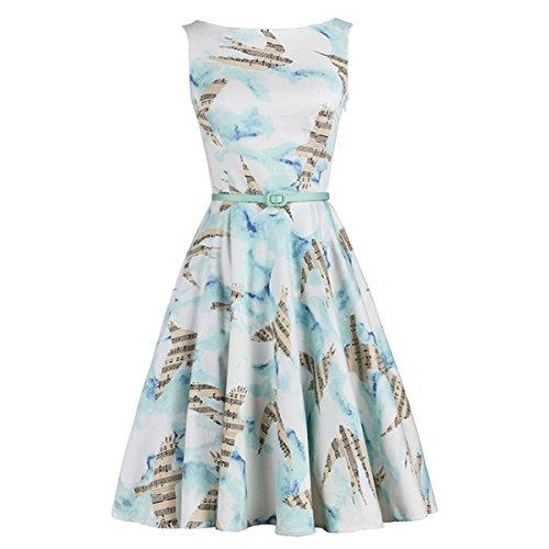 Bird Sleeveless (Summer Vintage Dress Blue Sky Music Bird Print Woman Slim Casual O-Neck Sleeveless Elegant Dresses)