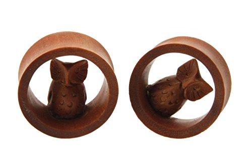 JewelryVolt NOG-154 Pair of Owl hoot design double Flare Flesh Tunnel Sawo Wood Ear Plugs (7/8