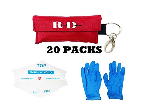 CPR Mask Emergency Kit Rescue Face Shields with Gloves One-Way Valve Breathing Barrier with Pair of Powder Free Nitrile Gloves for First Aid and AED Training (20) by Royal Diadem