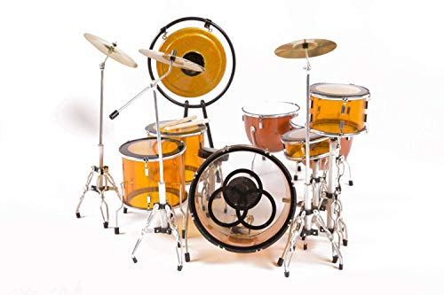 (FanMerch Drum Kit Led Zeppelin, John Bonham, Tribute Vistalite Transparent Amber Mini Drum Set Replica Collectible)