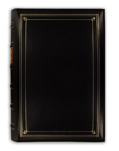 Pioneer Photo 204-Pocket Ring Bound Photo Album for 4 by 6-Inch Prints, Black Bonded Leather with Gold Accents Cover