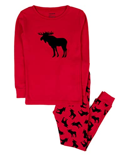 Christmas Pjs For Kids (Leveret Kids Christmas Pajamas Boys Girls & Toddler Pajamas 2 Piece Pjs Set 100% Cotton (Moose, 4)