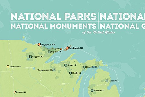 USA National Parks, Monuments & Forests Map 24x36 Poster - Lifestyle ...