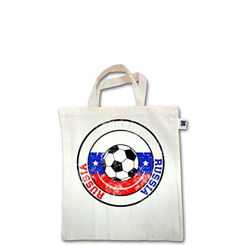 EM 2016 - Frankreich - Russia Kreis & Fußball Vintage - Unisize - Natural - XT500 - Fairtrade Henkeltasche / Jutebeutel mit kurzen Henkeln aus Bio-Baumwolle