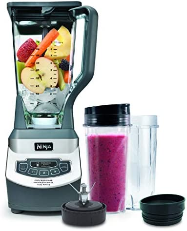 Ninja Professional Countertop Blender with 1100-Watt Base, 72 Oz Total Crushing Pitcher and (2) 16 Oz Cups for Frozen Drinks and Smoothies (BL660), Gray 410uS8FwOxL
