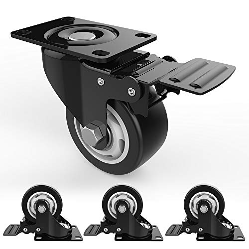 "3"" Swivel Caster Wheels with Safety Dual Locking and Polyurethane Foam No Noise Wheels, Heavy Duty - 250 Lbs Per Caster (Pack of 4) from Decolighting"