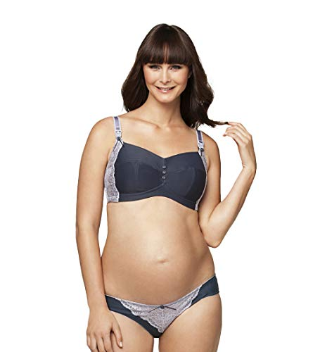 Cake Lingerie Women's Maternity Sorbet Brief Panty,Slate/Lavender Lace,Small