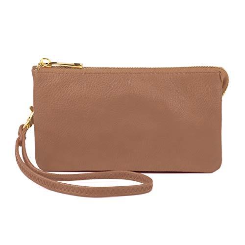 Convertible Soft Faux Leather Wallet Purse Clutch - Small Handbag Phone/Card Slots & Detachable Wristlet Strap ()