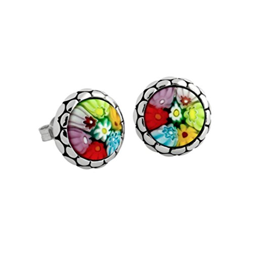 - Sterling Silver Multicolor Glass Murano Millefiori Round Stud Earrings (Made in Italy)