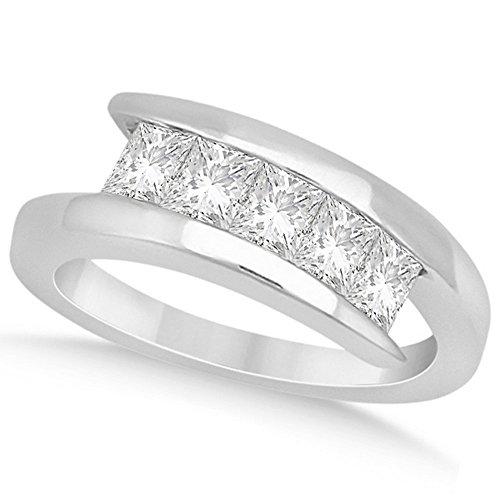 Five Stone Princess Cut Tension Set Diamond Journey Anniversary Ring in Palladium (0.5ct) ()