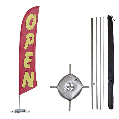 Flags With Cross - Vispronet - Open Feather Flag Kits - 13.5ft Flag Complete Pole Set, Cross Base Weight Bag (Red) Businesses, Storefronts, Sales - Printed in The USA
