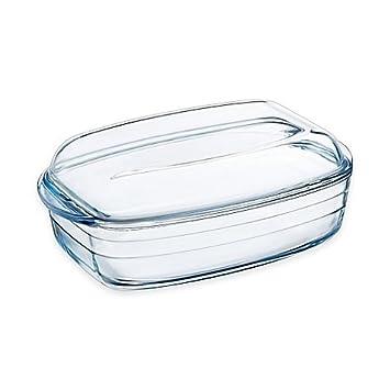 Arcuisine borosilicato 4,75 QT. Fuente para horno rectangular con tapa: Amazon.es: Hogar
