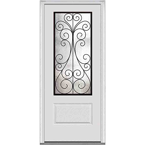 "UPC 769001034192, National Door Company Z000276L Fiberglass In-Swing Camelia Decorative Glass Entry Door, Left Hand, Prehung, Smooth, 3/4 Lite, 1-Panel, 36"" x 80"""