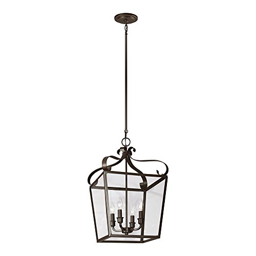 Sea Gull Lighting 5119404-782 Lockheart Four-Light Hall or Foyer Light Fixture with Clear Glass Panels, Heirloom Bronze Finish