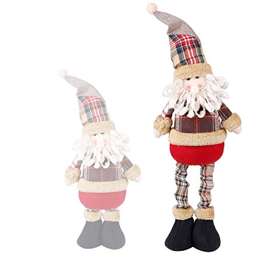 Christmas Standing Plush Figure Toy Santa Claus Stuffed Classic Plaid Decoration Ornament Adorable Cute Stretchable Holiday Week Christmas Day Gift for Home Office Room Show Window (Ornament Santa Classic)