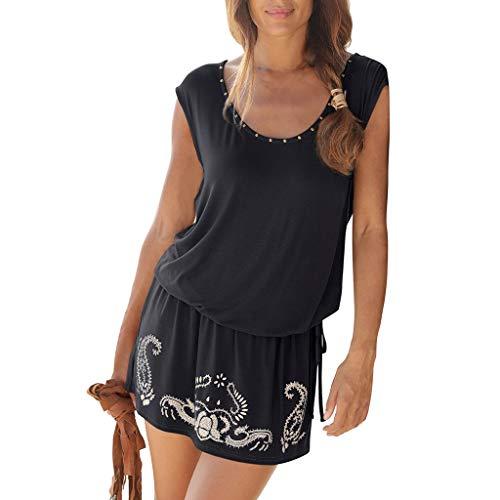 (Womens Dresses Summer Casual Solid Boho Retro Print Beach Mini Dress Sleeveless T-Shirt Dres)