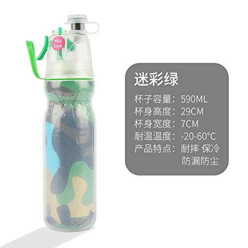 Large capacity double layer spray cup outdoor riding sports water bottle portable plastic cup ice spray bottle with hand cup upgrade version camouflage green 590ML ()