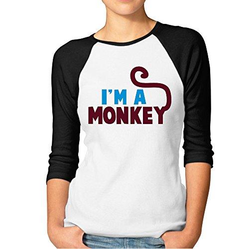 DonSir I'm A Cute Monkey Women Round Collar Raglan Tshirt Black XXL]()