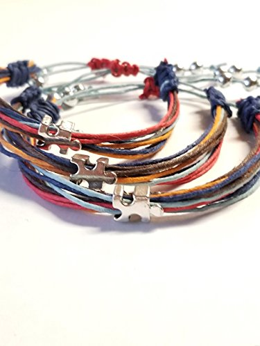 Casual Strand Bracelet (Autism Bracelet Multi-Strand String Unisex with Puzzle Piece European Bead Friendship For Men Women Gifts .)